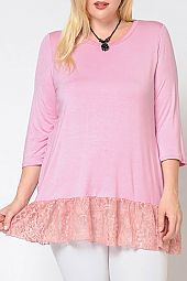 PLUS CONTRASTING LACE TRIM TOP