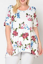 PLUS FLORAL FLARING TOP