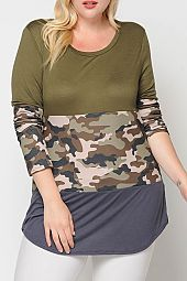 PLUS CAMOUFLAGE COLOR BLOCK JERSEY TOP