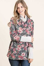 THERMAL FLORAL PRINT COWL NECK TOP