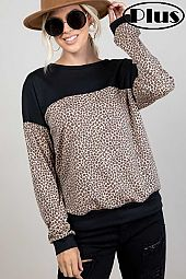 TERRY ANIMAL SOLID MIXED SWEATSHIRT PLUS TOP