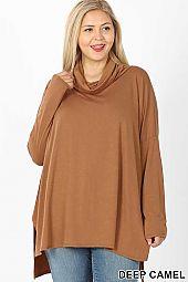 PLUS COWL NECK LONG SLEEVE  HI-LOW TOP