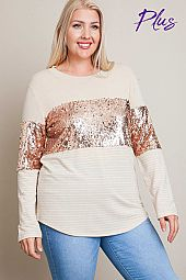 Sequin Contrast Top