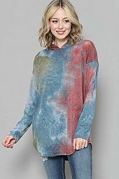 TIE DYE PRINT HOODIE TOP WITH POCKET