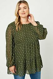 Plus Metallic Dot Tiered Tunic