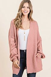 BUBBLE LONG SLEEVE CARDIGAN SWEATER