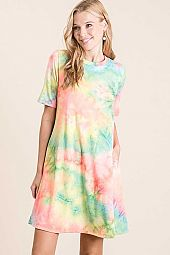 TIE DYE FRENCH TERRY ROUND NECK MINI DRESS