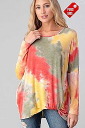 TIE DYE TWIST HEM LONG SLEEVE TOP