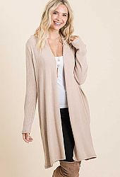 KNIT SOLID RIB MIXED LONG SLEEVE CARDIGAN