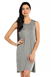 SOLID DRAPED BACK SHIFT DRESS