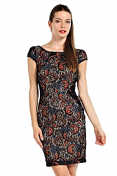 PAISLEY PATTERN LACE OVERLAY BODYCON DRESS