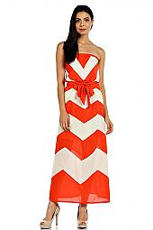 ZIGZAG PRINT TUBE MAXI DRESS WITH WAIST TIE