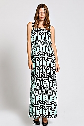 TRIBAL PRINT CROCHET STRAP ACCENT MAXI DRESS
