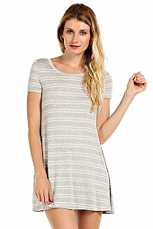 STRIPE PRINT SHORT SLEEVE KNIT SHIFT DRESS