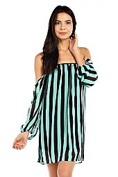PINSTRIPE PRINT OFF-SHOULDER DRESS