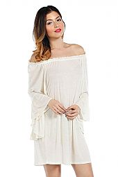 SOLID KNIT RUFFLE TRIM OFF-SHOULDER DRESS.