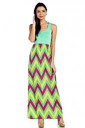 CHEVRON PRINT CONTRAST MAXI DRESS