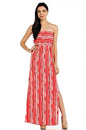 STRIPE PRINT TUBE MAXI DRESS