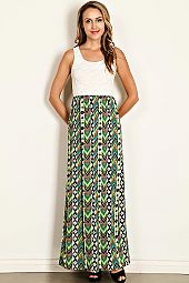 TRIBAL PRINT CONTRAST FLORAL LACE MAXI DRESS