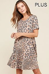 PLUS LEOPARD TRAPEZE DRESS