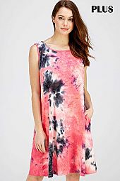 PLUS TIE DYE PRINT SLEEVELESS JERSEY DRESS