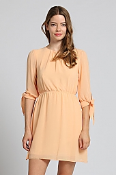 SELF-TIE TRIM CHIFFON DRESS