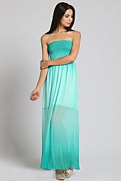 OMBRE DYE SMOCKED BODICE TUBE MAXI DRESS