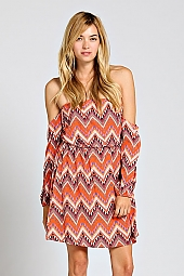 TRIBAL CHEVRON PRINT OFF SHOULDER DRESS