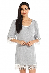 CROCHET TRIM CONTRAST HEATEHR KNIT SHIFT DRESS