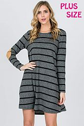 ELBOW PATCH TRIM STRIPE TRAPEZE DRESS