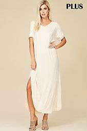 CURVED HEM T SHIRT MAXI DRESS