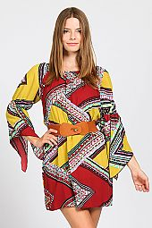 TRIBAL CHEVRON BELL SLEEVE DRESS