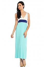 COLORBLOCK KNIT SURPLICE SLEEVELESS DRESS