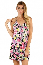 FLORAL PRINT V-NECK WOVEN DRESS