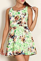 FLORAL PRINT LADDER CUTOUT SKATER DRESS