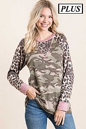ARMY PRINT WITH CHEETAH PRINT SLEEVE TOP