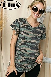 CAMOUFLAGE FRONT PK FLARE SHORT SLEEVE PLUS TOP