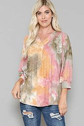 TIE DYE PRINT V NECK TOP