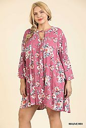 FLORAL PRINT BELL SLEEVE KEYHOLE DRESS
