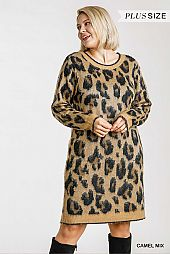 Animal Print Round Neck and Long Sleeve Dress