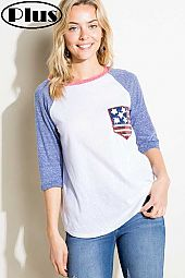 4TH OF JULY FLAG PK SOLID COLOR BLOCKED PLUS TOP