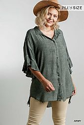 Washed Button Down Collar Tunic Shirt