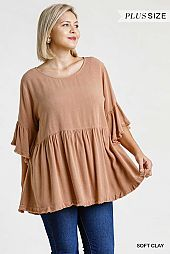 Round Neck Short Bell Sleeve Babydoll Top