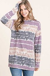 TIE DYE MULTI STRIPE LONG SLEEVE TOP