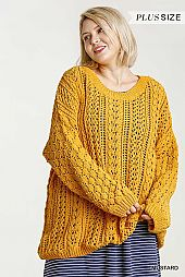 Long Puff Sleeve Crochet Chenille Knit Pullover Sweater