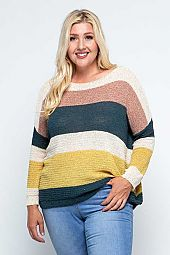 LIGHT KNIT COLOR BLOCK STRIPED PULLOVER SWEATER