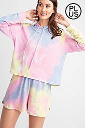 Plus Tie Dye Printed French Terry Hoodie Top
