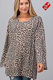 LEOPARD SLIT SIDES WIDE SLEEVE TUNIC PLUS