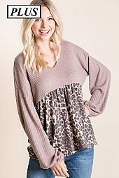 WAFFLE WITH CONTRAST  CHEETAH  FRENCH TERRRY TOP