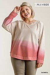 Dip Dye Ombre Round Neck Long Sleeve Top